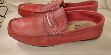 ZERIMAR Man  Red 100%Leather Moccasins Driving Shoes Loafers Flats  UK 9 /EU 43