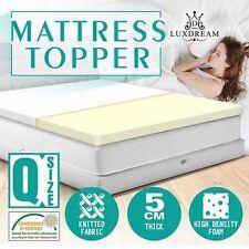 NEW Queen Bed Size High Density Foam Mattress Topper 5cm Thick, Super-soft Cover