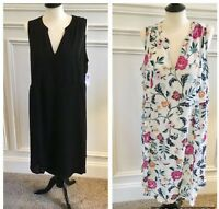 Old Navy Women's Lined Swing Dress Plus Size 1X, 3X, 4X Black & Floral MSR $37