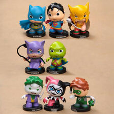 BATMAN JOKER CATWOMAN  HARLEY QUINN SUPERMAN MINI ACTION FIGURE SET 8 PEZZI