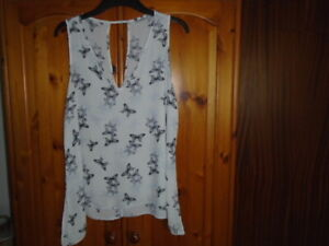 1 Ivory and black butterfly print sheer floaty summer top, GEORGE, size 12