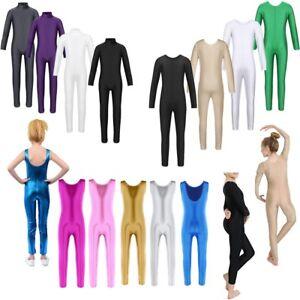 Kid Girls Ballet Dance Leotard Catsuit Gymnastics Full Body Jumpsuit Dancewear