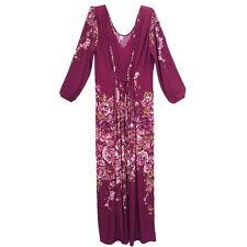Peasant Boho Hippie V-Neck Long Sleeve Kaftan Evening Cocktail Maxi Dress  Y0021