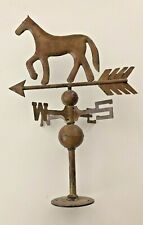 """Vintage Brass Horse Weathervane w/ Arrow, Spins Easily, 20"""" in Excellent Cond."""