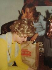 VINTAGE CHRISTMAS PEACE & LOVE DISCO ERA WIG BLONDE YOUNG MAN TINSEL TOWN PHOTO