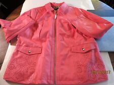 Dennis Basso XL Faux Leather Pink Perforated Zip Front Jacket Never Worn