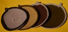 "New listing 4 Handmade Round Crochet Nesting Pot Holders Shades of Brown 7"" Retro Kitchen"