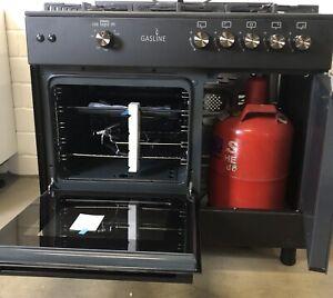 Gasline GAG90GPXFLB Schwarz Gas Standherd mit Flaschenschrank 90cm Propan 50Mbar