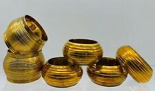 Set Of Six Old Vtg. Patina Brass Round Ribbed Napkin Rings Holders Tableware