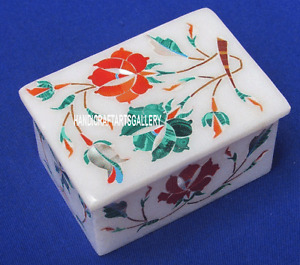 "4""x3""x2"" White Marble Jewelry Box Semi Precious Stone Gifts For Wedding H3207"
