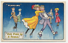AUTHENTIC OLD 1910 ROLLER SKATING SET OF 3 MATCHING SKATE POSTCARDS PC5884