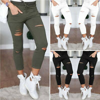 Women's Ladies Girls Casual Tights Stretch Skinny Pants Jeans Trousers Holes