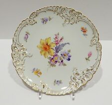 """Nymphenburg Porcelain Plate (1012) - Reticulated Floral Dessert Plate - 7.5"""""""