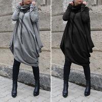 UK Women Batwing Sleeve Heaps Neck Dress Baggy Asymmetric Pullover Tops