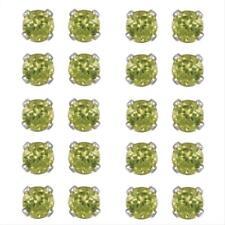 Set of 10 Silver 5.6ct Peridot Stud Earrings, 4mm