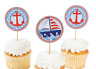 12 NAUTICAL ANCHOR SAILBOAT CUPCAKE TOPPERS PICKS OCEAN CRUISE SEA BEACH PARTY