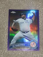 Damaged 2011 Topps Chrome CC Sabathia #52 Purple Refractor Serial # 63/499