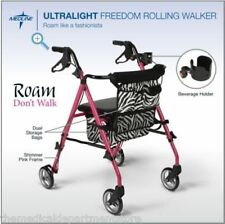 Medline  Freedom Rollator Walker UltraLight Pink Posh Zebra Folding MDS86835SHE