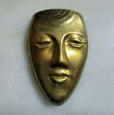 Vintage Face Mask Stamping, Raw Stamped Brass Jewelry Component, Finding, 1 Pc.