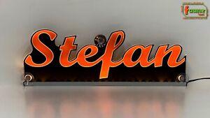 "LED Leuchtschild Namensschild Trucker LKW Wunschname z.B. ""Stefan"" orange 12/24V"