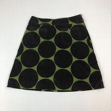 Womens BODEN Brown & Green Velvet Velour Polka Dot Mini Short A-line Skirt Sz 8