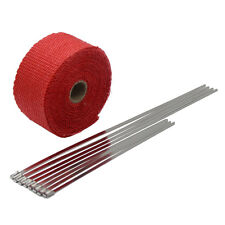 """Red 2""""X16' Motorcycle Exhaust Heat Wrap for Header Mufflers Pipe with 8 pcs ties"""