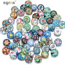 50pcs/lot Beautiful Exotic Pattern 18mm Glass snap button DIY Snaps Jewelry HM15