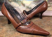 linea paolo shoes Kitten Heel Brown Leather  8N Wingtips Style Maryjane