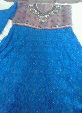 LADIES UNSTITCHED EID OUTFIT BLUE, PINK LACE ASIAN DRESS, SHALWAR KAMEEZ SUIT