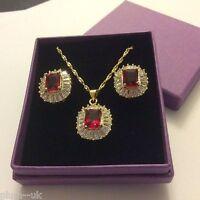 SET Red Garnet & Diamante Gold GF Matching Necklace Earring, Emerald Cut Plum UK