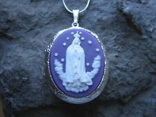 VIRGIN MARY (PURPLE) CAMEO SILVER PLATED LOCKET - MOTHER MARY, RELIGIOUS
