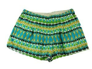 J Crew Womens Size 8 MED Short Shorts Multi-Color Geometric Retro Cotton Linen