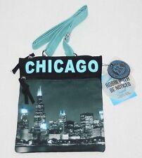New ROBIN RUTH Turquoise Blue Cloth Crossbody Bag Purse Chicago Skyline Image