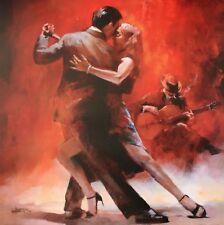 "Tango Dancers Dancing Large Framed Canvas 20""x20"""