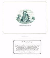 BEP Souvenir Card B163 1992 Columbus Historic Voyage Mint Green