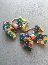 ✿NEXT 2xhair bow bright big flower print hair elastic bobble clip slide Ties