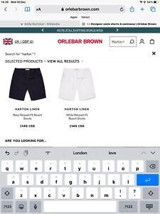 orlebar brown 32 Mens Linen Shorts White
