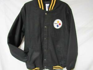 Pittsburgh Steelers Mens L Snap Up Embroidered Wool Blend Jacket MSRP$139 B1 249