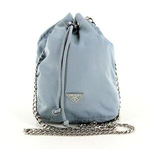PRADA Vintage Nylon Bucket Tessuto Vela Pouch Messenger Crossbody Bag Light Blue