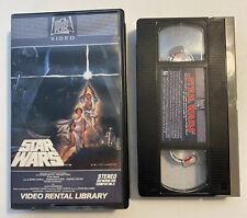 Star Wars VHS Video Rental Library w/ Matching # Fox 1982 RARE 1130-30 Black Red