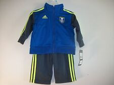 Adidas Soccer Blue and & Neon Green 2 Piece Jogging Set Infants 6M  NWT