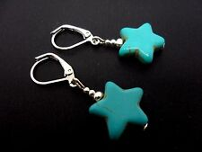 A PAIR OF TURQUOISE BLUE  SILVER PLATED STAR LEVERBACK HOOK  EARRINGS. NEW.