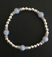 Sterling Silver Stretch Bracelet Blue Lace Agate Gemstone Bead Sterling Bracelet