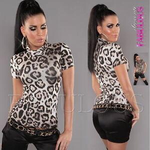 New Women's Top Size 10 8 6 Leopard Print Turtleneck Shirt Party Casual XS S M