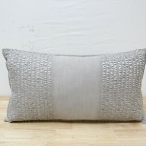 """Hotel Collection 12"""" X 22"""" Decorative Pillow Eclipse Embroidered Gray J0Z215"""