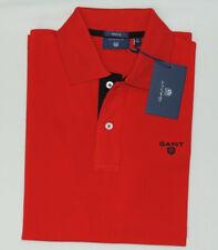 GANT PIQUE Cotton Contrast Collar Men's Regular Polo in Red