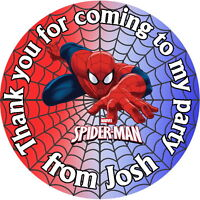 PERSONALISED SPIDER MAN QUALITY GLOSS BIRTHDAY PARTY BAG, SWEET CONE STICKERS