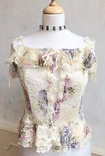 LIPSY Cream Lace Floral Fairytale Corset Vest Camisole Summer Top S/M 8 10 12