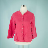 Eileen Fisher Small Size S Top Linen Pink Boxy Button Front 3/4 Sleeve Mandarin