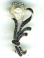 """925 Sterling Silver Marcasite, Faux Pearl & Crystal Flower Brooch Length 1.1/2"""""""